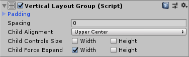 A VerticalLayoutGroup so that the items take the whole width of the menu